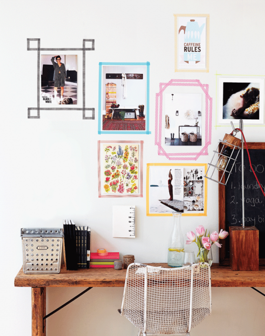 Modern-gallery-wall-art-frames-with-washi-tape-520x660