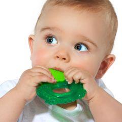 Mordedor suave y texturizado para bebé con forma de ranita.