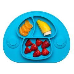 Plato de silicona para bebé - azul con fruta