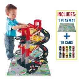 Parking Infantil 5 Plantas + 10 coches + Tapiz de Juego