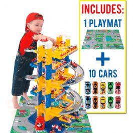 Parking Infantil 6 Plantas + 10 coches + Tapiz de juego